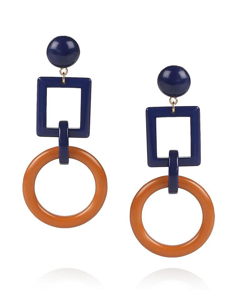 Blue and brown geometric earrings