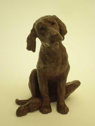 Bronze resin Dog sculpture by artist Christine Close titled: CHOOSE ME (Dog Sculpture)