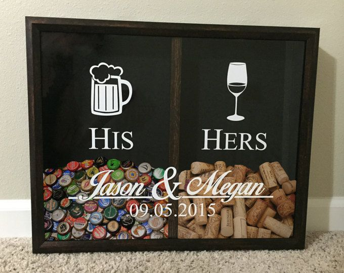 Mr and Mrs Wine Cork and Beer Cap Tab Holder, His and Hers, Wedding Gift Idea, Personalized