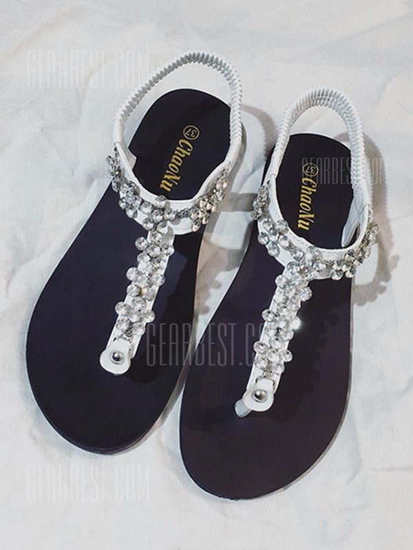 f1a775a7d66fe Flat Heel Rhinestone PU Leather Thong Sandals