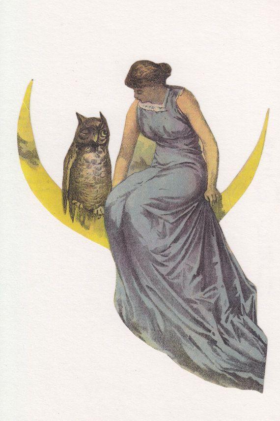Four Victorian Women & Girls - Vintage Collage Supplies - Antique Artwork - Owl, Moon, Dog, Baby, Flowers - Cottage Chic Art - Old Ephemera