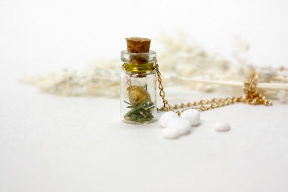 Glass Blottle Necklace, Natural Dried Flower with Green Glass, Small Bottle Necklace by ALOTSS