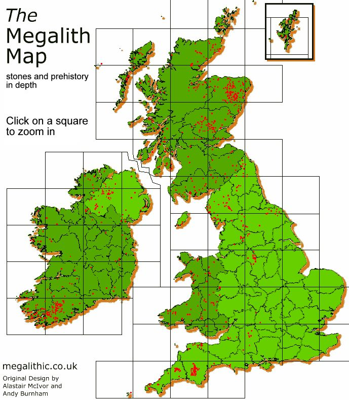 Clickable map to see Megaliths and prehistoric sites in England, Ireland, Scotland and Wales.