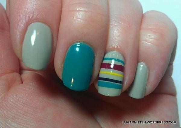 StripesNails Art, Mani Pedi, Black Nails Pink, Polish Nails, Black White, Stripes Nails, Green Nails Polish Ideas, Accent Green Nails, Red Black