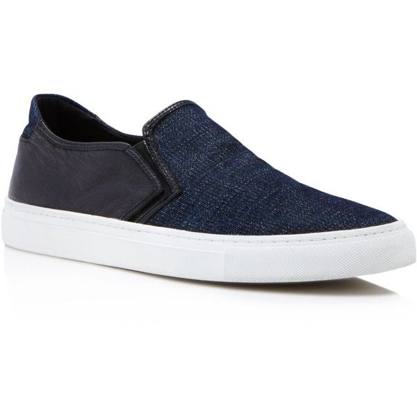 Uri Minkoff Canal Denim Slip On Sneakers ($175) ❤ liked on Polyvore featuring men's fashion, men's shoes, men's sneakers, mens slipon shoes, mens black slip on sneakers, mens black shoes, mens black sneakers and mens denim shoes