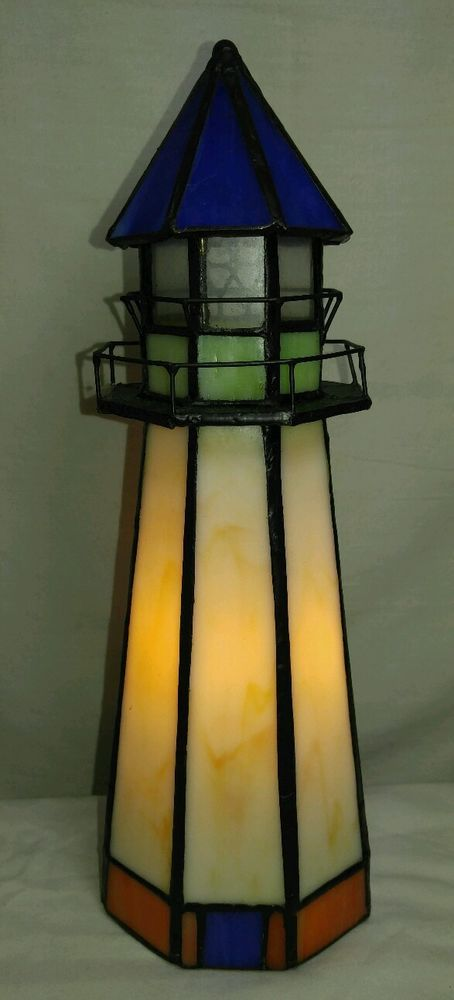 Vintage Stained Glass Nautical Lighthouse Accent Table