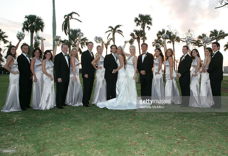 Newlyweds Donald Trump Jr. and Vanessa Haydon pose with the groomsmen and bridesmaids after the wedding ceremony of Donald Trump Jr. and Vanessa Haydon at the Mar-a-Lago Club November 12, 2005 in Palm Beach, Florida.