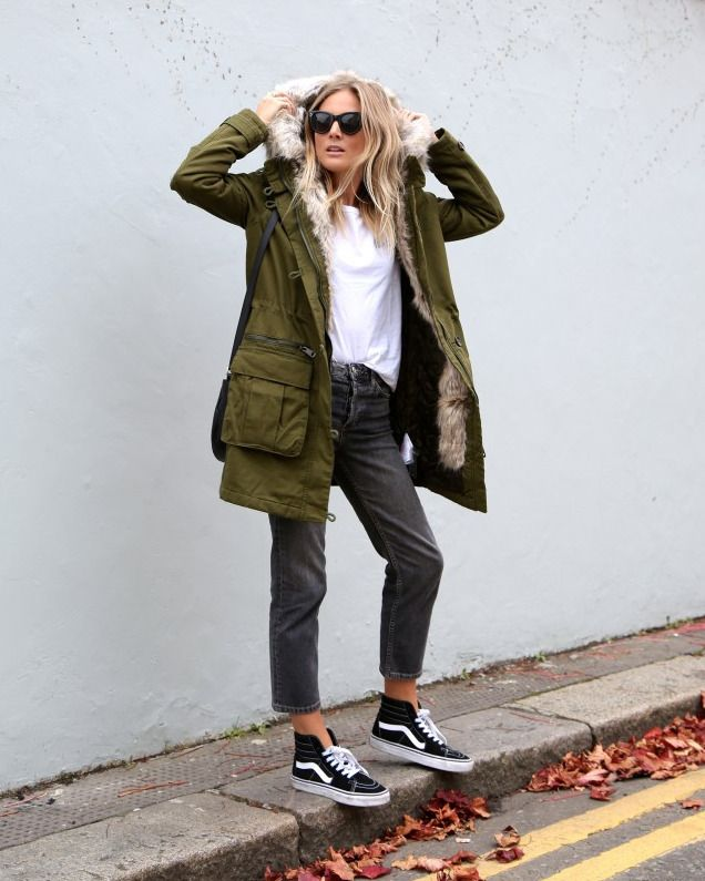 A warm parka teamed with loose-fit jeans and Sk8-Hi's.  Photo: Lucy Williams