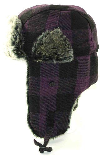 Purple Buffalo Plaid Wool Faux Fur Trooper Trapper Pilot Aviator Hat for Men and Women Medium Large.