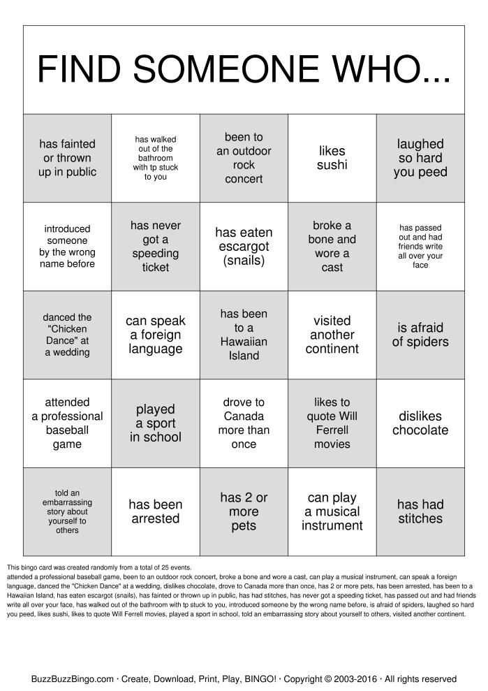Class Reunion Idea: Reunion bingo to get people mingling #ClassReunionIdeas