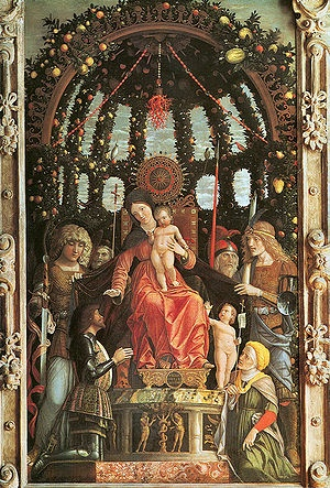 Andrea Mantegna | Madonna della Vittoria, 1496, tempera on canvas, 280 cm × 166 cm, Louvre Museum. The painting was one of the works looted by the French during the Napoleonic invasion of Italy, and was exhibited in the Louvre by 1798. The painting was never returned; the given excuse was that its large size made the transport difficult.