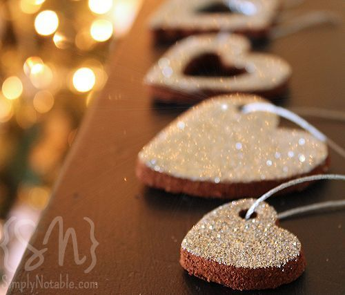 Glittered cinnamon ornaments! Add the glitter right into the dough...