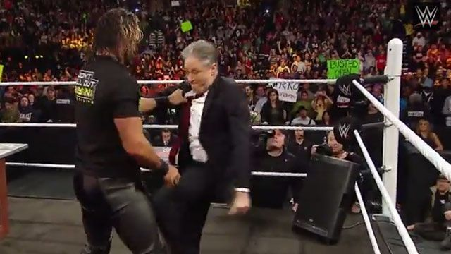 Jon Stewart Kicks WWE's Seth Rollins Where It Hurts!