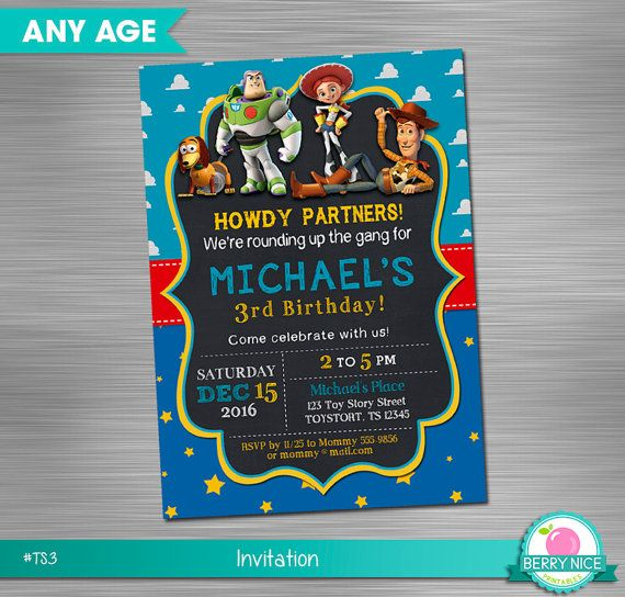Toy Story Print Yourself Invitation, Toy Story Birthday Invitation, Toy Story Party Invitation DIY