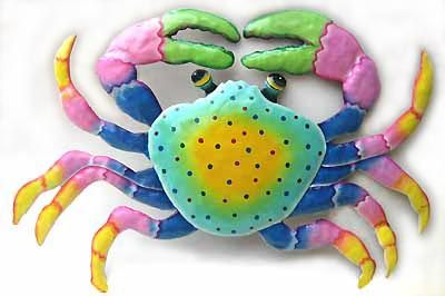"""Hand Painted Metal Crab Wall Hanging in Bright Pastels - 15"""" x 22"""" - Tropical Decorating – Painted Metal Tropical Decor – Hand Painted Metal – Haitian Steel Drum Metal Art – Tropical Design – Metal Wall Decor – Caribbean Art – Outdoor Garden Decor - - See more handcrafted metal tropical designs at www.TropicAccents.com ."""