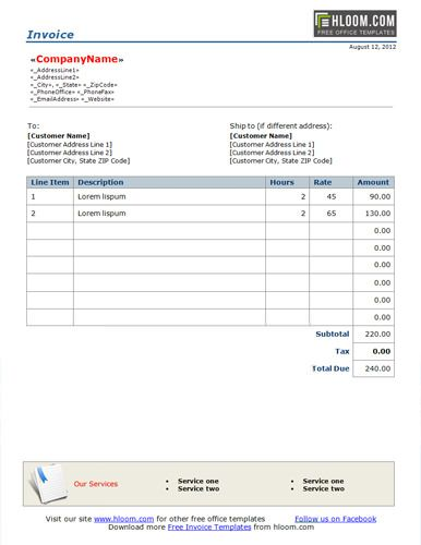 Basic billing format for word