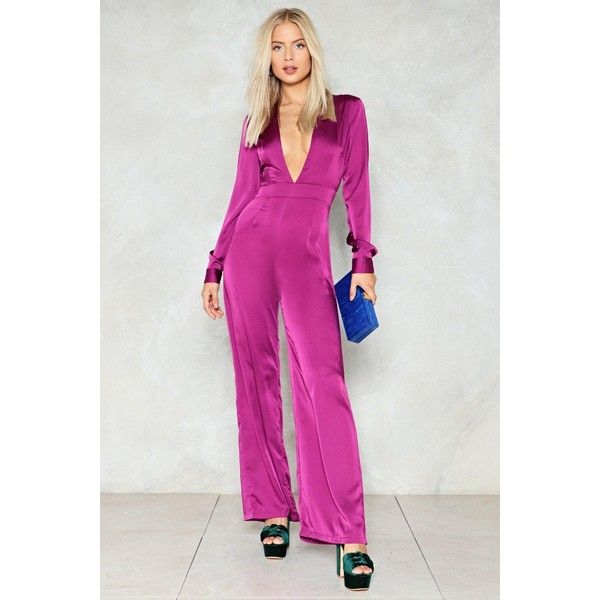 Nasty Gal Deep in My Heart Plunging Jumpsuit ($70) ❤ liked on Polyvore featuring jumpsuits, purple, zipper jumpsuit, nasty gal jumpsuit, satin jumpsuit, jump suit and plunging v neck jumpsuit
