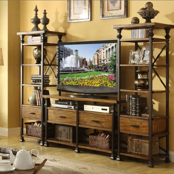 Ijzer hout woonkamer tv kast tv achtergrond rekken niet de oude tv ...