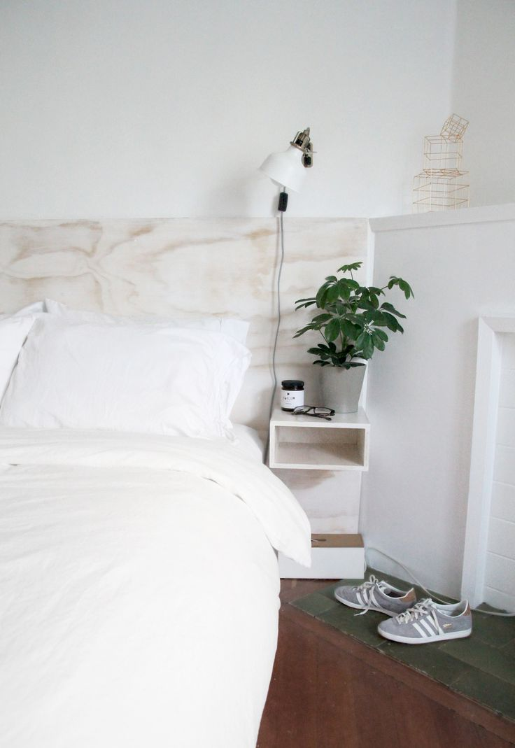 DIY Plywood Headboard + Floating Bedside Tables