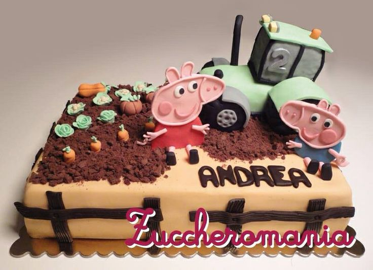 Peppa pig tractor cake