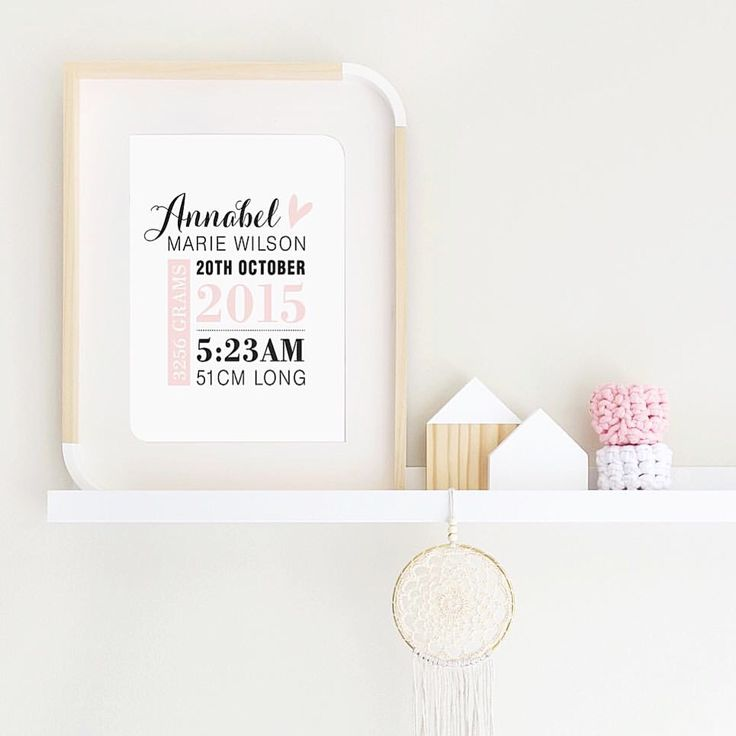 Personalised baby girl birth print. Pastel pink and black print in A4.