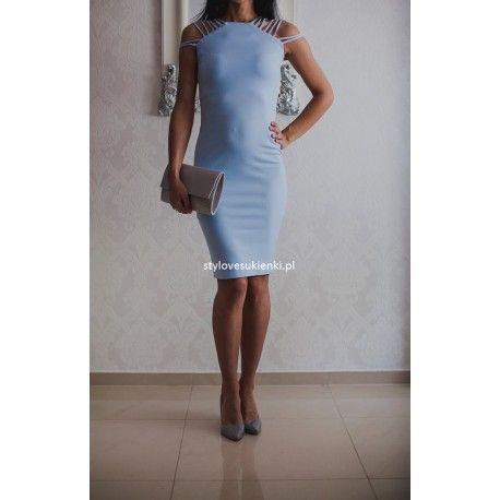 Błękitna ołówkowa sukienka midi multi ramiączka
