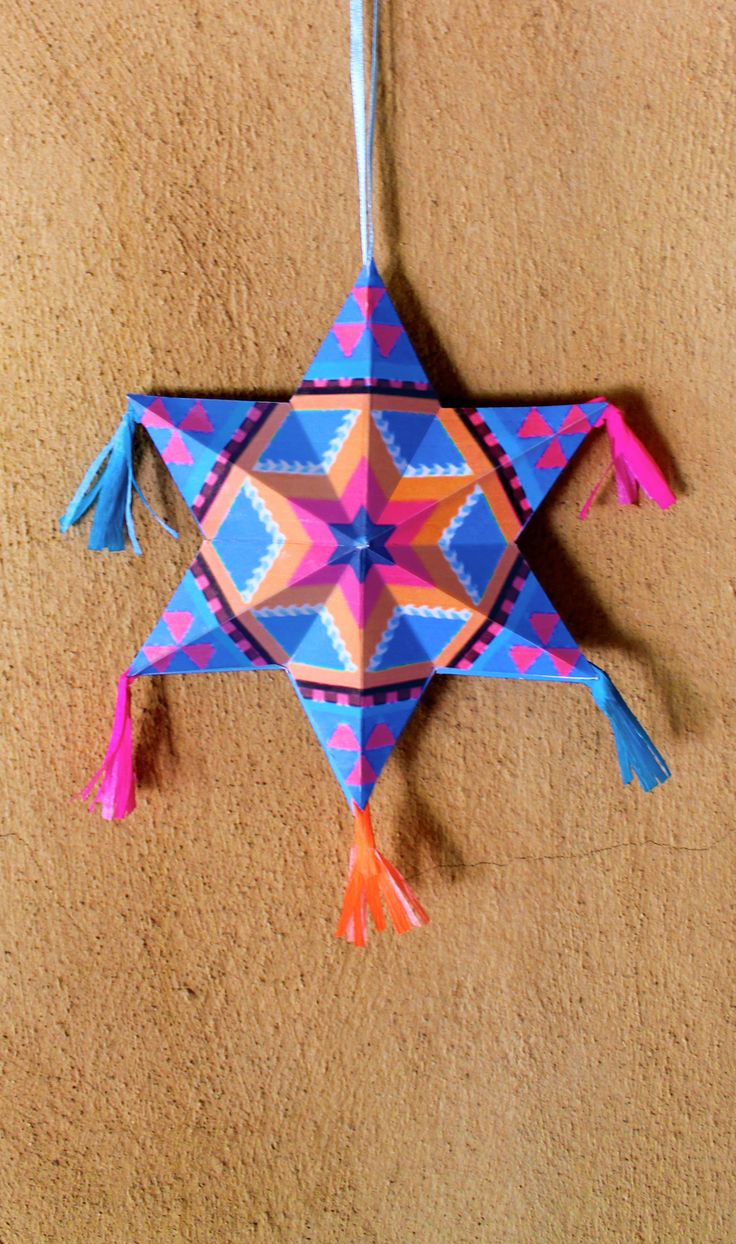 Make your own Mexican paper star ornaments diy tutorial & templates | happythought.co.uk