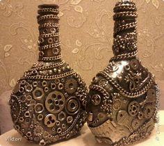Декор предметов Ассамбляж Стимпанк Хлам-декор Бутылки стеклянные фото 1