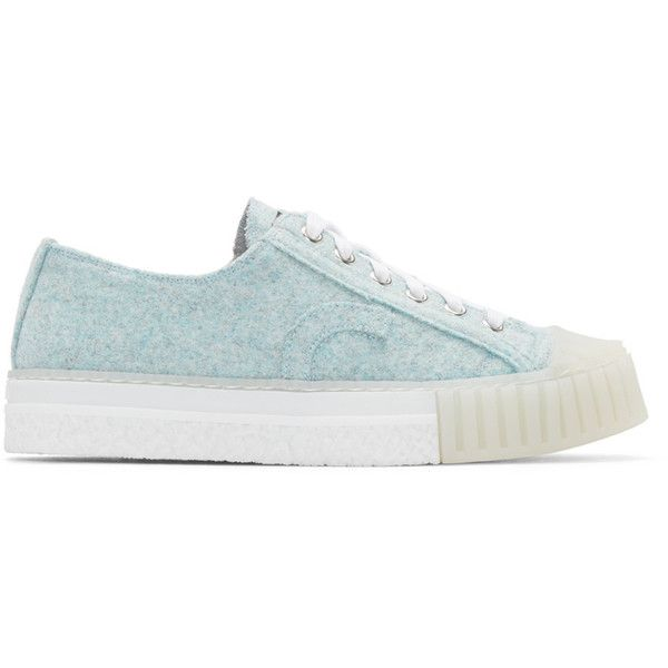Adieu Blue Felted Type W.O. Sneakers (3.420 CZK) ❤ liked on Polyvore featuring shoes, sneakers, blue, round toe shoes, lacing sneakers, rubber shoes, laced shoes and blue sneakers