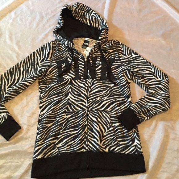 VS animal print zip-up hoodie NWT black & white animal print longer length zip up hoodie. Retails for $59.95 NO TRAdES PINK Victoria's Secret Tops Sweatshirts & Hoodies