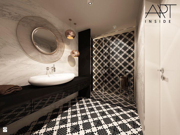 Elegancka łazienka w czarno-białej kolorystyce z akcentami miedzi - zdjęcie od…