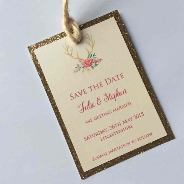 Glitter Stags Save the Date Card