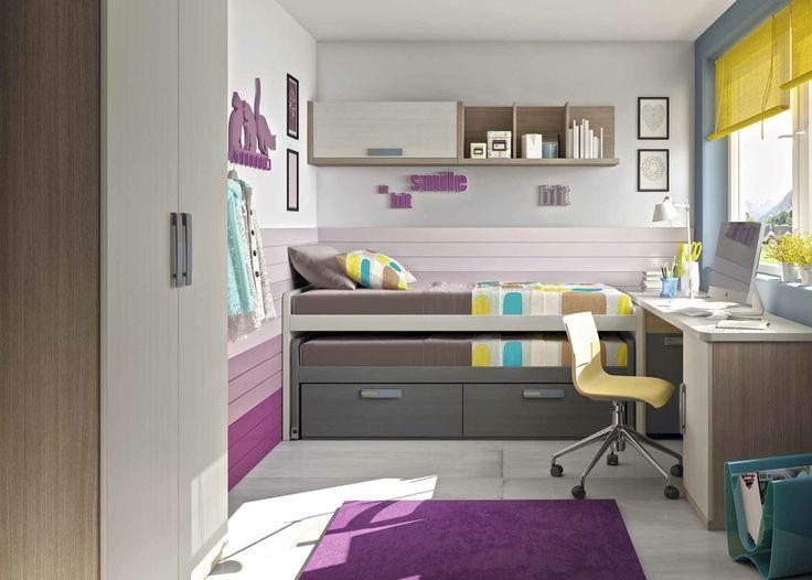 Otra solucion completa para espacios reducidos. Colores olmo, gris y piedra. Compacto con cama reversible.