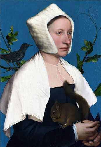 Hans Holbein the Younger, Lady with a squirrel and a starling, possibly Anne Lovell