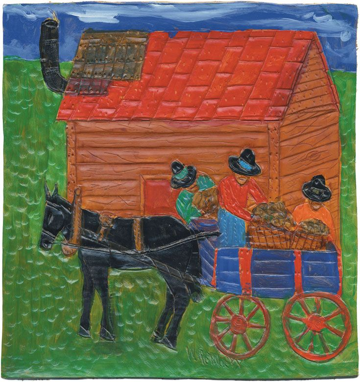 """November calendar image: BUCK ROSS AND WORKERS - Dye on carved and tooled leather, 11 x 11 5/8"""""""