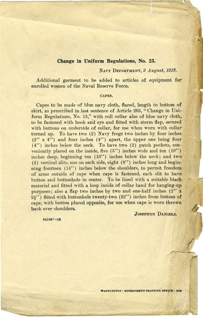 US Navy Reserve Force, Yeoman F, Uniform Regulations. WWI  Uniform regulations concerning Capes.  Collection of Curator Branch Naval History and Heritage Command Collection of Navy  Department Library.