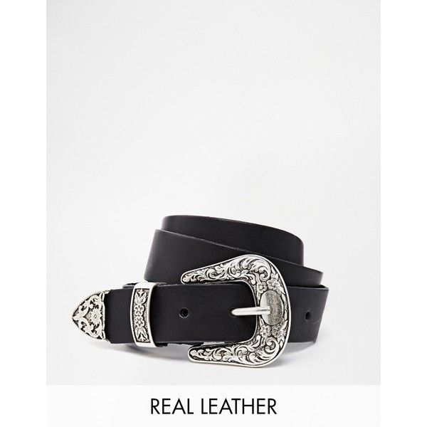ASOS Leather Western Tip Waist And Hip Belt (690 CZK) ❤ liked on Polyvore featuring accessories, belts, black, western belts, adjustable leather belt, genuine leather belt, cowgirl belts and leather belt