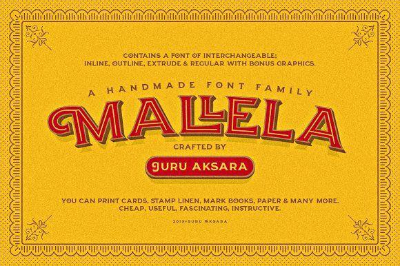 Mallela Typeface Bonus Typeface Vintage Fonts Creative