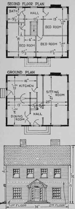 How closely the model resembles a real house is shown by the plans and front view.