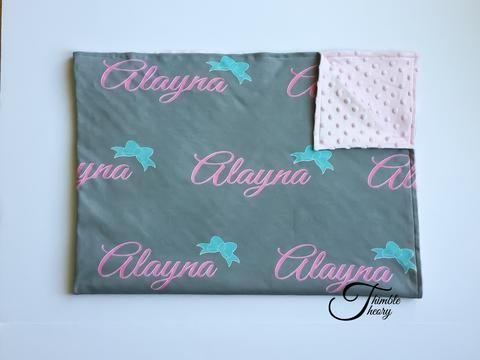 """""""Bows""""-Personalized Double Sided Minky Blanket"""