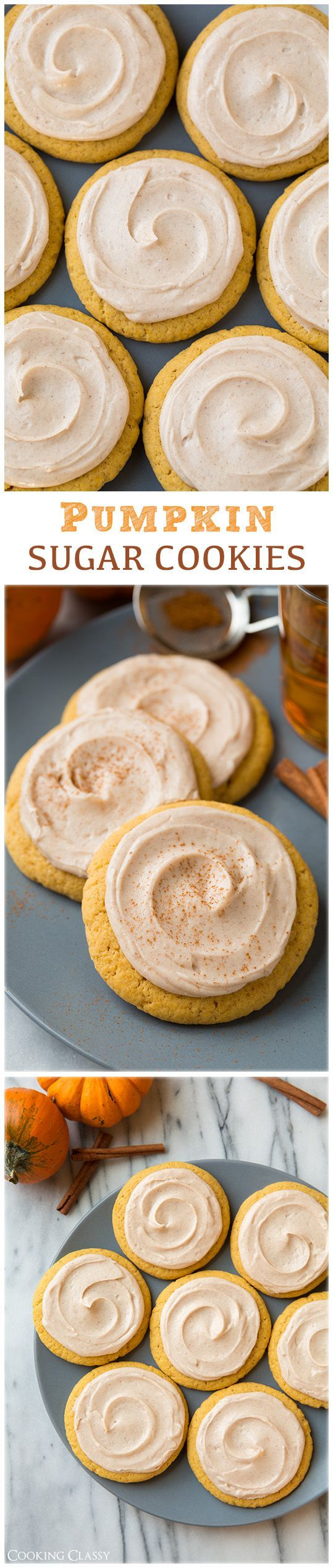 Pumpkin Sugar Cookies with Cinnamon Cream Cheese Frosting - these are like the…