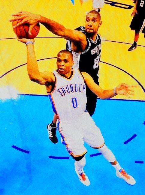 Tim Duncan blocking russel Westbrook NBA basketball spurs vs. thunder playoffs