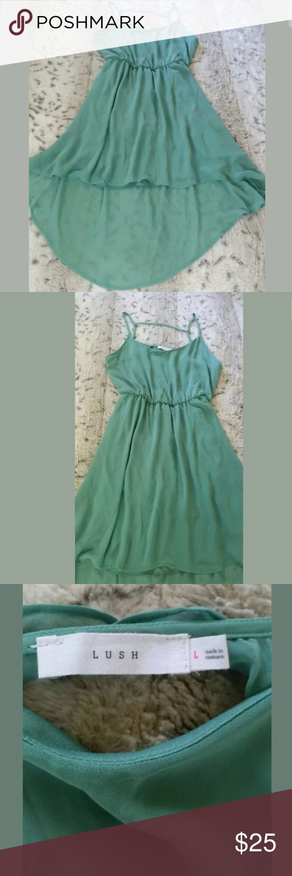 """Women's High Low Dress Mint Green Womens Lush Mint Green High Low Casual Summer Dress With Keyhole Back Size Large   100% Polystyrene   Length at its longest 33 1/2""""  Length at its shortest 28 1/2"""" Lush Dresses High Low"""
