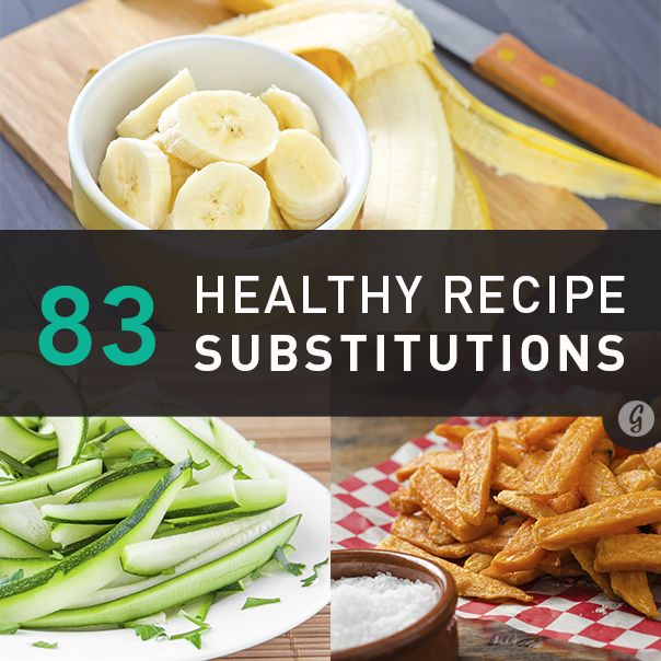 83 Healthier Recipe Substitutions. Some of these are really surprising! I am definitely going to try these in my favorite recipes.