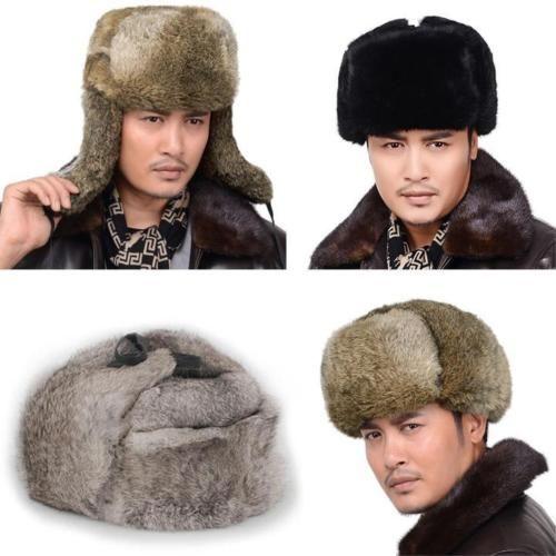 Hommes-maison-de-fourrure-de-lapin-bonnet-hiver-chapeau-de-trappeur-ski-patinage-chapeau-bonnet