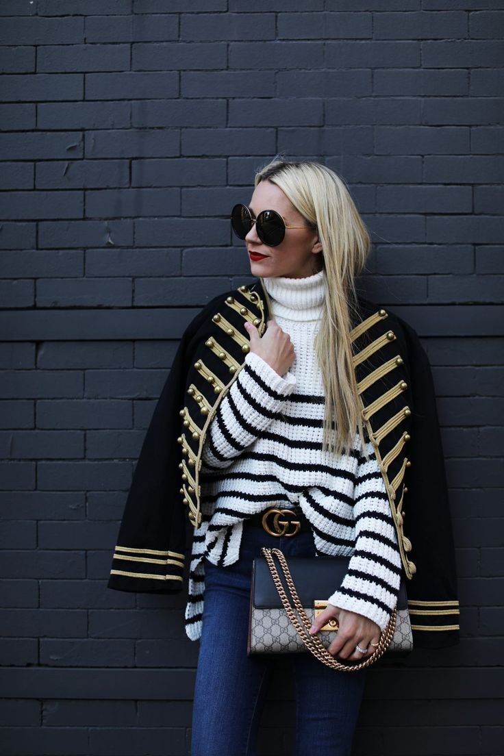 Atlantic - Pacific Fashion Blog // Band Jacket, stripe sweater