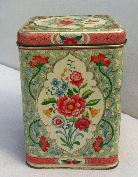Biscuit tins:have one like this with smaller matching flip top tin my grandma gave me!