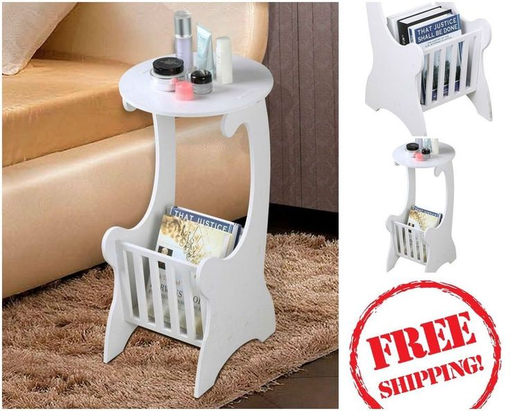 White Telephone Stand Lamp Table  Round Side Coffee Table Magazine Rack Shelf