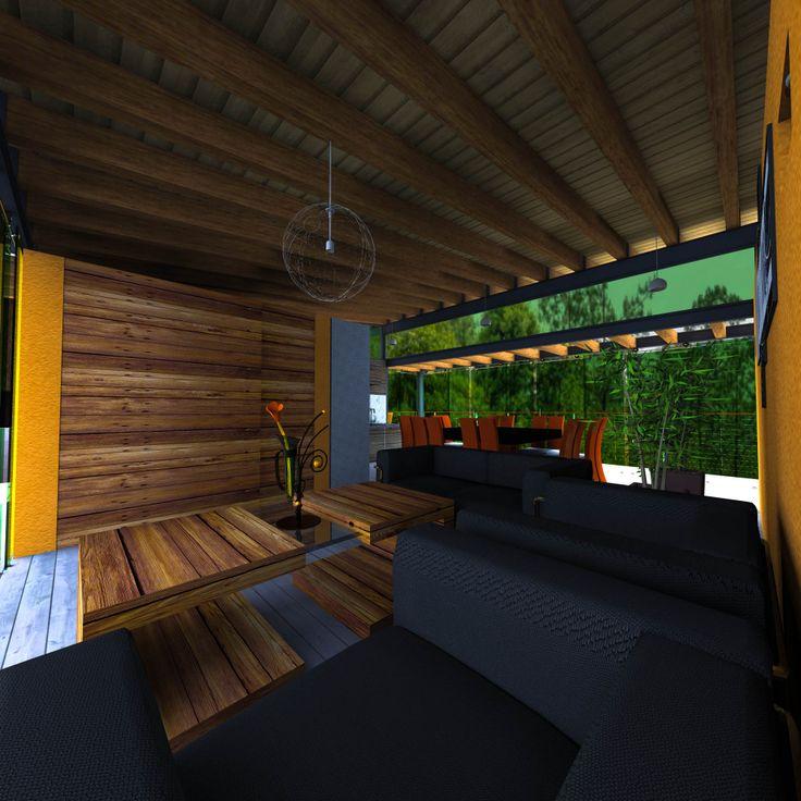 Los materiales utilizados son de la región;  muros sólidos aplanados aparentes y madera. El área privada alberga tres habitaciones pequeñas, la pública alberga la cocina, área de servicios, estancia y terraza, los techos son altos con viguería de madera.