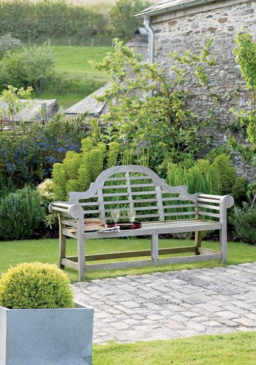 Love the weathered wooden bench and stone cobble walkway, Larcombe Farm, Poland